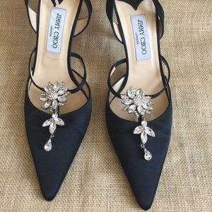 Jimmy Choo Strappy Black Satin Heels w/ Diamonds